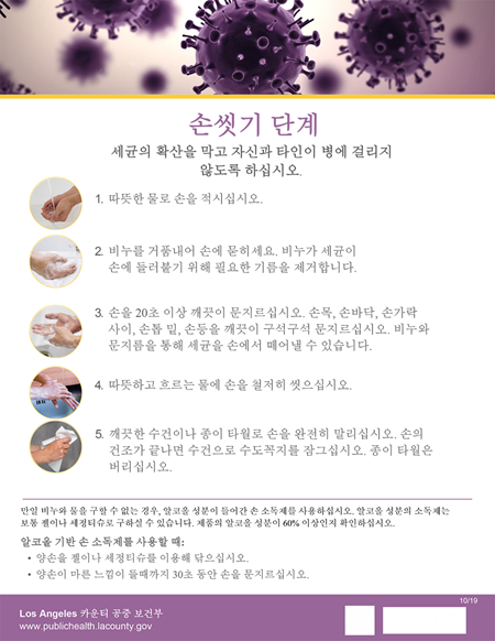 Steps for Hand Washing in Korean